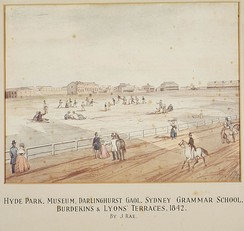 Hyde Park, Sydney with the Australian Museum under construction in the distance, 1842.
