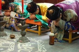 Taoist priests of the Zhengyi order bowing during a rite at the White Cloud Temple of Shanghai. Taoism is a set of orders of philosophy and rite that operate as frameworks of Chinese religion, alongside vernacular ritual traditions.