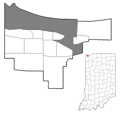 Map of Gary, The gray represents the industrial corridor