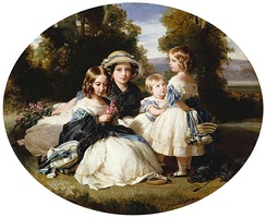 Victoria with her sisters Alice, Louise and Helena. Portrait by Franz Xaver Winterhalter, 1849.