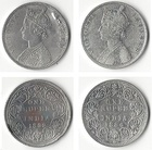 Two silver rupee coins issued by the British Raj in 1862 and 1886 respectively, the first in obverse showing a bust of Victoria, Queen, the second of Victoria, Empress.  Victoria became Empress of India in 1876.