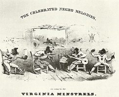 Early minstrel shows lampooned the assumed stupidity of black people. Detail from cover of The Celebrated Negro Melodies, as Sung by the Virginia Minstrels, 1843.