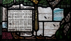 Stained glass window by Harry Clarke in Wexford dedicated to the memory of Lt William Henry O'Keefe who was killed in action.