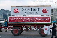 "Protests against Monsanto during the We are fed up! demonstrations in Germany. ""Better Vin Santo than Monsanto!"""