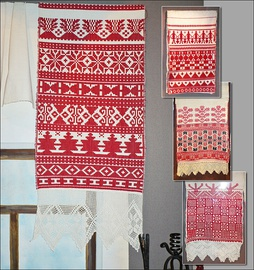 Red is predominant in the Russian ritual textile Rushnyk