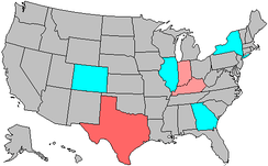 Summary of party change of U.S. house seats in the 2004 House election.   1-2 Democratic seat pickup   1-2 Republican seat pickup   3-5 Republican seat pickup