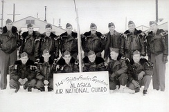 Soldiers of the newly designated 144th Fighter-Bomber Squadron posing for a picture during the winter of 1953