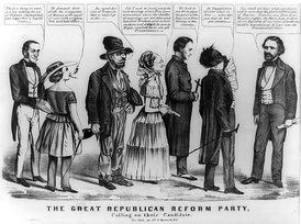 This Democratic editorial cartoon links Republican candidate John Frémont (far right) to other radical movements including temperance, feminism, Fourierism, free love, Catholicism, and abolition.