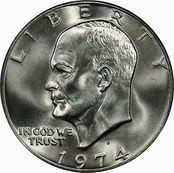The Eisenhower 1974 dollar (obverse).