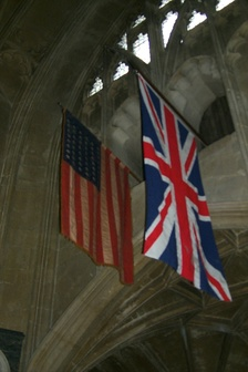 US Flag, a gift from the 405th, hangs in Christchurch Priory