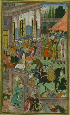 A folio from the Baburnama: An awards ceremony in Sultan Ibrāhīm Lodi's court before an expedition to Sambhal in the early 16th century.