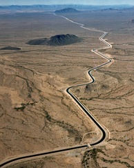 Central Arizona project canal zigzagging across the Arizona desert