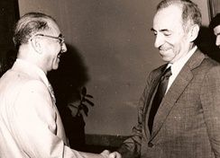 The coup caused the 1966 Ba'ath Party split; from 1968 until 2003 there existed two National Commands.In picture, from left to right Ahmed Hassan al-Bakr and Michel Aflaq