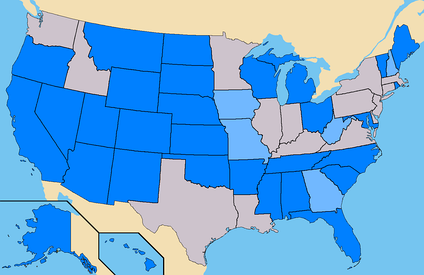 Blue – States where A.E. had ballot access. (292 Electoral)Light Blue – States where A.E. had submitted petitions. (41 Confirmed)Total – 327 Electoral