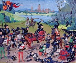Fifteenth-century miniature depicting the Battle of Agincourt of 1415.