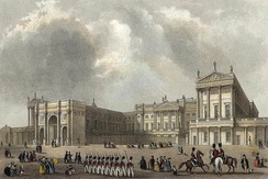 Marble Arch before its relocation at the entrance to the newly rebuilt Buckingham Palace