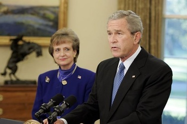 President Bush introducing withdrawn nominee Harriet Miers.