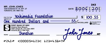 A cheque sample from Canada, 2006
