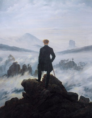 Caspar David Friedrich, Wanderer above the Sea of Fog, 1818. A classic image of German Romanticism.