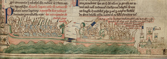 Battle of Giglio, against Gregory IX (1241), miniature in Chronica Maiora (1259).
