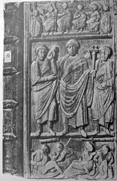 On the left: Emperor Honorius on the consular diptych of Anicius Petronius Probus (406) On the right: Consular diptych of Constantius III (a co-emperor with Honorius in 421), produced for his consulate in 413 or 417.