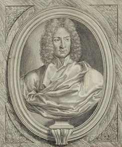 Engraving of a bust of Corelli[15] from the title page of his Twelve Concerti Grossi, Op.6 (pub. 1714)