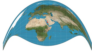 A map generated using the Craig retroazimuthal projection centered on Mecca. Unlike most map projections, it preserves the direction from any other point on the map to the center.