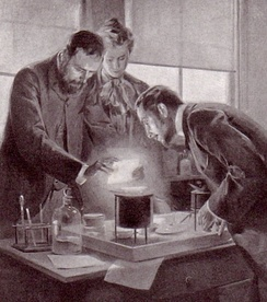 Marie and Pierre Curie experimenting with radium, a drawing by André Castaigne