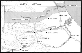 Map of the demilitarized zone and northern Quang Tri Province during the Vietnam War