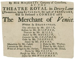 The playbill from a 1741 production at the Theatre Royal of Drury Lane.