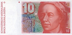 Old Swiss 10 Franc Banknote honouring Leonhard Euler who developed many key concepts in mathematics, calculus, physics and engineering.