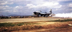 F-80C of the 51st Fighter-Interceptor Wing taking off from Suwon AB with a JATO bottle