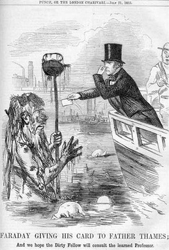 Michael Faraday meets Father Thames, from Punch (21 July 1855)