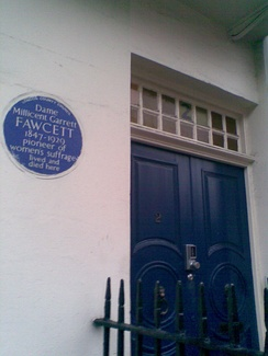 Doorway of Millicent Fawcett's home at No. 2, Gower Street, London, with blue commemorative plaque