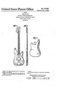 Design patent issued to Leo Fender for the second-generation Precision Bass