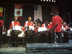 Steelpans are a type of instrument used by the Trinidad and Tobago Defence Force Steel Orchestra.