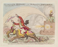 Political cartoon by James Gillray making fun of Cornwallis after his retreat from Seringapatam