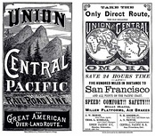 "UPRR & CPRR ""Great American Over-Land Route"" Timetable cover 1881"