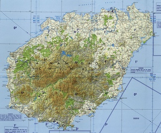 A topographic map of Hainan Island.