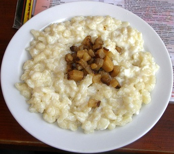 Bryndzové halušky (potato dumplings with sheep's-milk cheese) is a traditional food of shepherds in Slovakia.