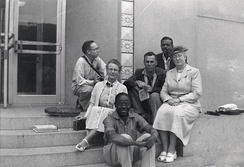 White with 1954 creative writing class outside Memorial Library