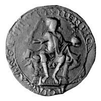 Henry's royal seal, showing the King on horseback (l) and seated on his throne (r)