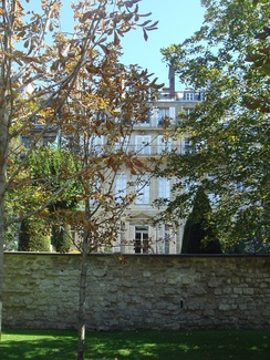 House of Chateaubriand, 120 Rue du Bac, with view on the Park of the Paris Foreign Missions Society.