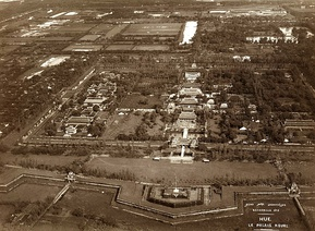 The aerial view of the Imperial City in Hue 11-9-1932 during the feast in honor of the takeover of Emperor Bảo Đại