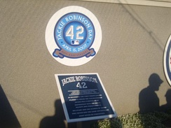 The plaque in the first Monument Park in honor of Jackie Robinson
