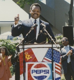 Jackson making a speech at the Goodwill Games in Seattle, 1990
