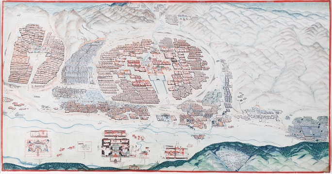 A 1913 panorama of Urga. The large circular compound in the middle is the Zuun Khuree temple-palace complex. The Gandan temple complex is to the left. The palaces of the Bogd are to the south of the river. To the far bottom right of the painting is the Maimaicheng district. To its left are the white buildings of the Russian consulate area. The Manjusri monastery can be seen on Mount Bogd Khan Uul at the bottom-right of the painting