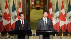 Press conference between Canadian Prime Minister Justin Trudeau and Mexican President Enrique Peña Nieto in Ottawa; 2016.