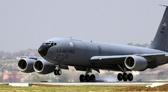 121st ARS KC-135, touches down on the flightline at Incirlik, Turkey during Operation Enduring Freedom