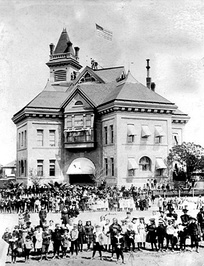 An 1897 photo of K Street High School, which was replaced by Fresno High School in 1896. The school later became Emerson Elementary School and was demolished ca. 1930.